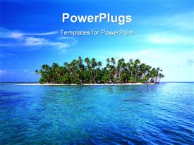 PowerPoint template displaying tropical island with palm trees and ocean