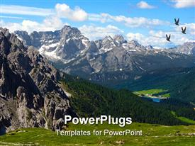 Photo taken in Italy, dolomite mountains, over 3000 meters powerpoint template