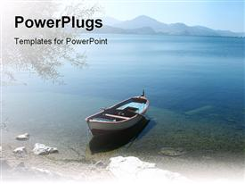 PowerPoint template displaying tranquil scene of Lake Egirdir in Turkey in the background.