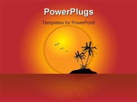 PowerPoint template displaying two Palms on Island with Beautiful sunset