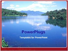 PowerPoint template displaying view of lake and mountain