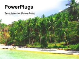 PowerPoint template displaying view of nice wild tropical sandy beach early in the morning in the background.