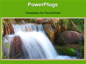 View of small water fall presentation background