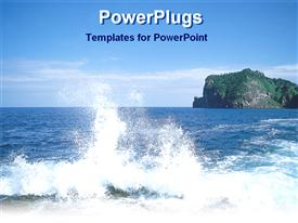 PowerPoint template displaying view of a sea with a large rock at the back