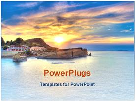 PowerPoint template displaying sunset view on a house on a calm beach