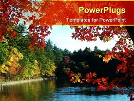 Walden pond framed by and reflecting autumn leaves powerpoint design layout