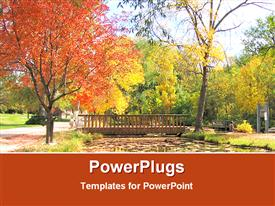 PowerPoint template displaying a bridge and a number of trees