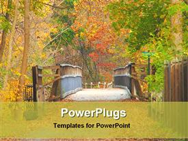 PowerPoint template displaying wooden bridge in a forest