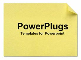 PowerPoint template displaying yellow post-it note in the background.