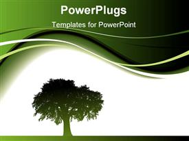 PowerPoint template displaying the depiction of a tree in the middle with a white and green background