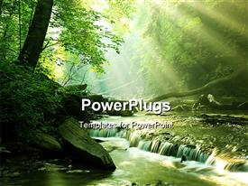PowerPoint template displaying a beautiful spring with a lot of greenery
