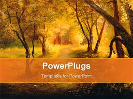 PowerPoint template displaying painting. A canvas oil