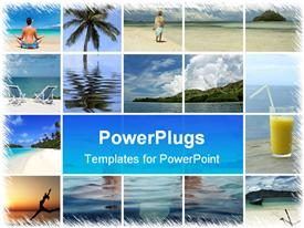 PowerPoint template displaying a beautiful depiction of a number of refreshing places