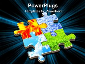 PowerPoint template displaying puzzle with four elements of nature. Object over white