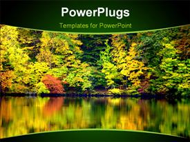 PowerPoint template displaying crisp Bright Fall Colors Reflecting on a Tranquil Lake