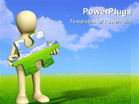 PowerPoint template displaying nature concept - puppet with 3D puzzles