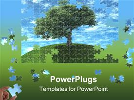 PowerPoint template displaying a number of puzzle pieces making a beautiful scenery