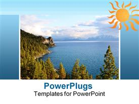 PowerPoint template displaying a number of trees on the beach with clouds in the background