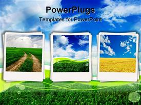 PowerPoint template displaying polaroids depicting fields, dirt path, blue sky