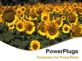 PowerPoint template displaying animated blurry depiction of a lot of sun flowers