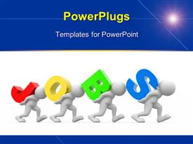 PowerPoint template displaying four 3D men carrying colored letter forming word JOBS over white surface