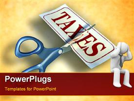 PowerPoint template displaying stressful man with scissors cutting a piece of paper with the word taxes in background