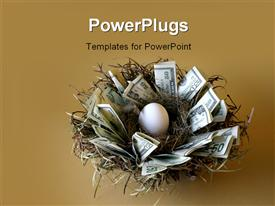 PowerPoint template displaying money lines the nest of this not-yet-hatched egg against a gold background