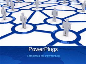 PowerPoint template displaying business network concept in the background.