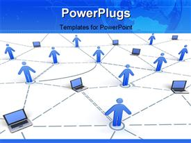 PowerPoint template displaying concept of computer network withlaptops and people connected over white background