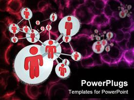 PowerPoint template displaying social networking model with red people connected to form a molecule