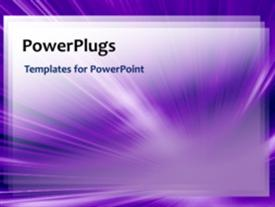 PowerPoint template displaying network video template of purples lines coming to a point, with light flowing through in the background.
