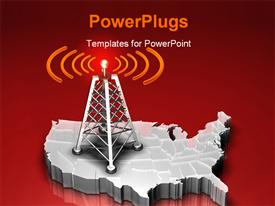 PowerPoint template displaying a mast with a red light giving out signals