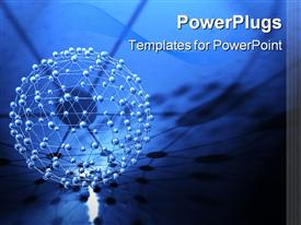 PowerPoint template displaying abstract 3D molecular structure network on blue network background