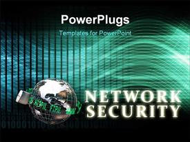 PowerPoint template displaying network Security as a Concept Background Art in the background.