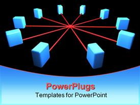 PowerPoint template displaying computer network segment. network topology scheme in the background.