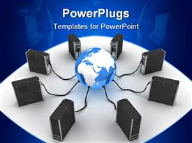 PowerPoint template displaying computer towers plugged into blue and white globe