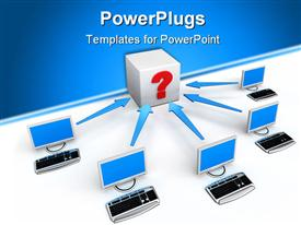 PowerPoint template displaying five desktops and keyboards with arrows pointing at box with question mark
