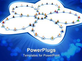Crowd of small symbolic 3D figures linked by lines template for powerpoint