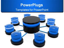 PowerPoint template displaying database structure rotate, mix of blue black and white colors