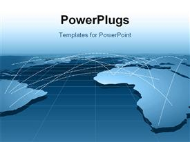 PowerPoint template displaying global business relationship distribution channels or networking using map