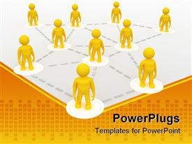 PowerPoint template displaying metaphor for franchise, teamwork, networking with yellow men connected by silver dotted lines