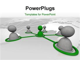 PowerPoint template displaying virtual men on network connection in the background.