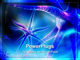 PowerPoint template displaying digital depiction of 3D rendering neuron in color background