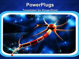 PowerPoint template displaying framed orange and red neuron on glowing blue background