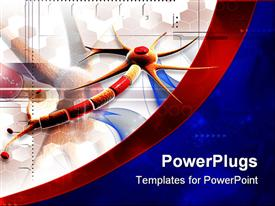 PowerPoint template displaying multi colored neuron thread, on a blue and red image