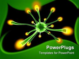 PowerPoint template displaying green neuron cell with yellow tips in a dark background