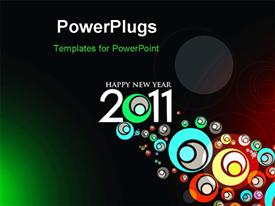PowerPoint template displaying abstract new year 2011 colorful design in the background.