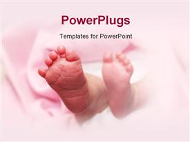 PowerPoint template displaying a pair of baby feet on a pink background