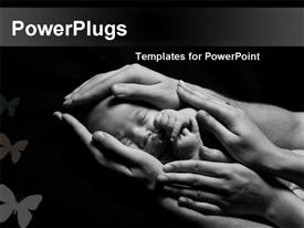 PowerPoint template displaying newborn baby sleeping into parents hands depicting parental love and care