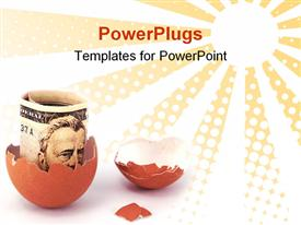 PowerPoint template displaying broken brown egg shell with a rolled up dollar bill inside